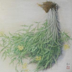 「菜」40x40cm パネルに水彩紙・墨、顔料、水彩絵の具などで描画