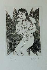 「葉に囲まれた母子」 18x13cm